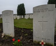 A soldier of the great war. Headstones to A soldier of the great war in a cemetery in Flanders Stock Photography