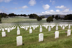 Headstones at United States National Cemetery Royalty Free Stock Photos