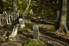 Headstones w gorączka złota cmentarzu, Skagway, Alaska Fotografia Royalty Free