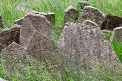 Headstones w Żydowskim cmentarzu w Praga republika czech Fotografia Royalty Free