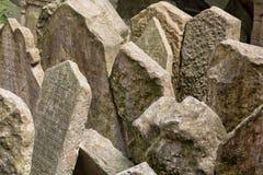 Headstones w Żydowskim cmentarzu w Praga republika czech Zdjęcia Stock