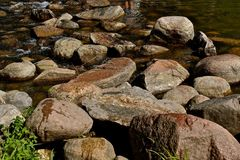 Headwaters of the Mississippi River at Lake Itasca. The waters of Lake Itasca and the rocks which border the beginning of the Mississippi Riverblack and white royalty free stock photography