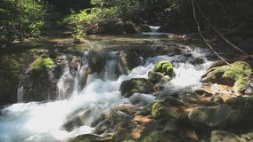 Headwaters, the river tropical forests. A river headwaters flows over rocks in this forest tropical of the Thailand ,in national park stock video footage