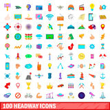 100 headway icons set, cartoon style. 100 headway icons set in cartoon style for any design vector illustration Stock Illustration