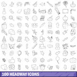 100 headway icons set, outline style Royalty Free Stock Photos