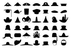 Headwear. 42 different headwear items: pirate/admiral hats; graduation, peter pan, cooking hats, navy berets; cowboy, santa claus, magician/witch, clown, jester Stock Photos