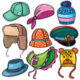 Headwear set of icons Royalty Free Stock Photos