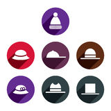 Headwear vector icon set. Royalty Free Stock Images