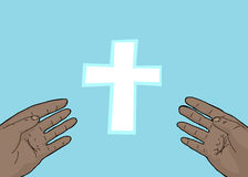 Healed Hands of Christ Symbol. Scarred hands of Christ outstretched toward cross Royalty Free Stock Image