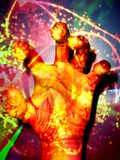 Healers Hand. A beautiful illustration of a healers hand radiating energies Stock Photography
