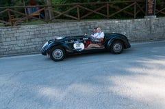 HEALEY 2400 СИЛЬВЕРСТОУН E-TYPE 1950 на старом гоночном автомобиле в ралли Mille Miglia 2017 Стоковое Изображение