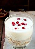 Healhty breakfast with oatmeal, greek yogurt and pomegranate Royalty Free Stock Photos