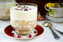 Healhty breakfast with oatmeal, yogurt and pomegranate berries Stock Photo