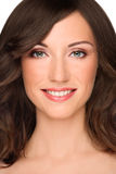 Healhy beauty. Close-up portrait of young healthy smiling fresh woman with clear makeup Royalty Free Stock Photography