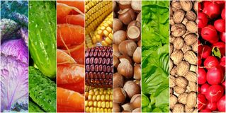 Healhy foods vegetables collage background Stock Images