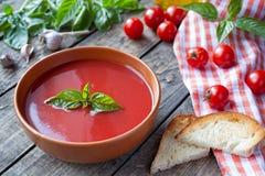 Healhy vegetarian traditional Italian tomato soup Stock Photo