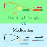 Healhylevensstijl versus medicijn Royalty-vrije Stock Afbeeldingen