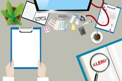 Healing allergy concept vector. Top view of a medical table with doctor accessories. Doctor is holding blank paper ready for your text. The magnifying glass Stock Images
