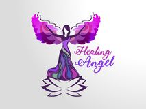 Healing Angel. This modern concept featuring the Angel. There is a angel on the lotus flower. This concept is 100% vector base graphic &  scale-able for any size Royalty Free Stock Photos