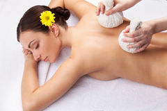 Healing back massage. Royalty Free Stock Photography