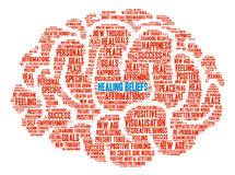 Healing Beliefs Brain Word Cloud. On a white background royalty free illustration