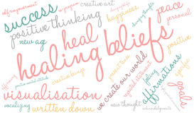 Healing Beliefs Brain Word Cloud. On a white background stock illustration