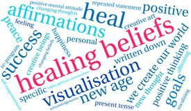 Healing Beliefs Word Cloud. On a white background vector illustration