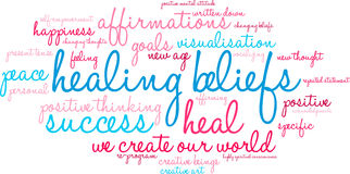 Healing Beliefs Word Cloud. On a white background royalty free illustration
