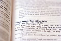 Healing the Blind. Bible scripture on healing the blind royalty free stock photos
