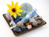 Healing Crystals. Collection of crystal gem stones used for Reiki natural healing practice and alternative energy medicine Stock Photography