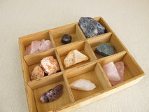 Healing crystals in box Royalty Free Stock Image