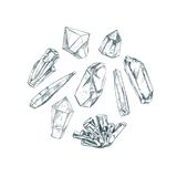 Healing crystals. Yoga. Healing crystals. Vector hand drawn illustration.  objects. Yoga. Spirituality Stock Photos