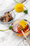Healing dandelion root. Bowl of healing infusion of the flower and the root and spring of the dandelion royalty free stock photography