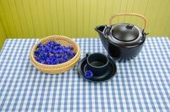 Healing fresh aromatic cornflower tea set on table Stock Photos