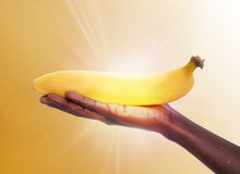 HEALING FRUIT. A hand holding a fresh banana receiving rays of light like a concept of healing energy through the regular consumption of fruits Royalty Free Stock Image