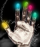 Healing hand. An illustration showing the palm of an open healing hand shown against a cloud star background with different colours over each finger Stock Illustration
