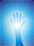 Healing hand with reiki lines. Vectorial illustration of a hand and the reiki line Stock Photos