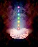 Healing Hands And Seven Chakras Royalty Free Stock Photos