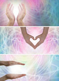 Healing hands and Light x 3 website banners. Female healers hands in three positions with swirling energy background Royalty Free Stock Photo