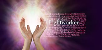 The healing hands of a Light Worker stock photo