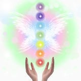 Healing Hands and Seven Chakras Royalty Free Stock Image