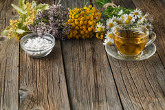 Healing herbs and bowl of pills on wooden table Stock Photo