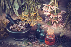 Healing herbs bunches, mortar and oil bottles Royalty Free Stock Photos