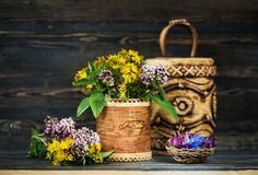 Healing herbs and flowers in birch bark boxes. Organic Medicinal Products. Herbal medicine stock photography