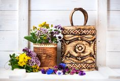 Healing herbs and flowers in birch bark boxes. Organic Medicinal Products. Herbal medicine. Healing herbs and flowers in birch bark boxes. Organic Medicinal royalty free stock photography