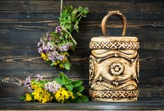 Healing herbs and flowers in birch bark boxes. Organic Medicinal Products. Herbal medicine stock photos
