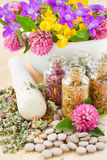 Healing herbs in glass bottles, herbal medicine. Different healing herbs in glass bottles, flowers bouquet in mortar, tablets, herbal medicine Stock Photography