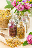 Healing herbs in glass bottles, herbal medicine. Different healing herbs in glass bottles, flowers bouquet, herbal medicine Stock Photo