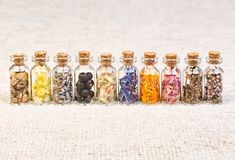 Healing herbs in glass bottles, herbal medicine. High resolution photo Royalty Free Stock Photo