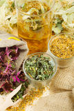 Healing herbs and healthy tea on wooden table Royalty Free Stock Images